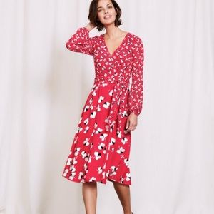 Boden •Camellia Large Pansy Floral Faux Wrap Dress